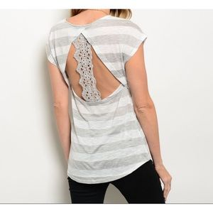 Tops - Grey White Striped Top
